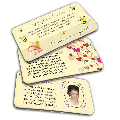 Cartes d'invitations en chocolat