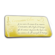 Visuel de la carte d'invitation communion or personnalisé en chocolat